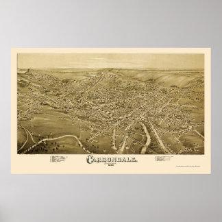Carbondale, PA Panoramic Map - 1890 Poster