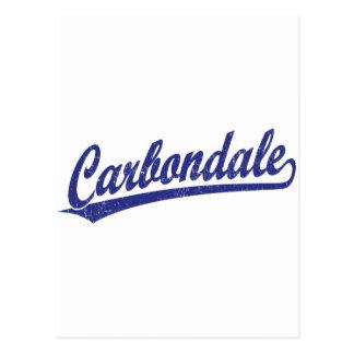 Carbondale script logo in blue postcard