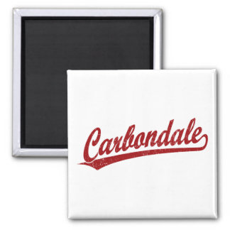 Carbondale script logo in red 2 inch square magnet
