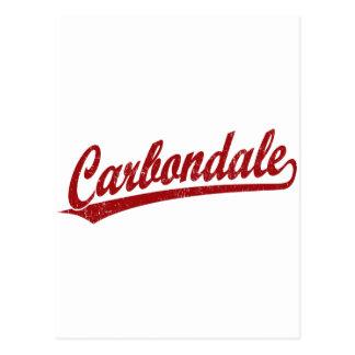 Carbondale script logo in red postcard