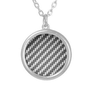 Carbonfiber Carbon Fiber (faux) Round Pendant Necklace