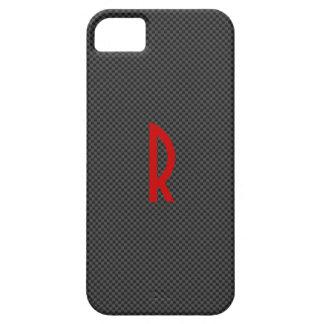 Carbono negro con un monograma rojo iPhone 5 fundas