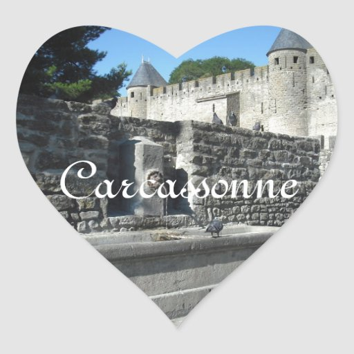 Carcasona, Francia Calcomanía Corazón Personalizadas