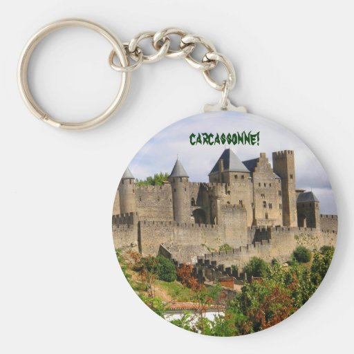 Carcassonne fortress in France Basic Round Button Keychain
