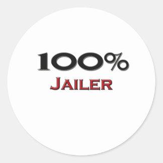 Carcelero del 100 por ciento pegatina redonda