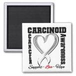 Carcinoid Cancer Awareness Heart Ribbon Refrigerator Magnets