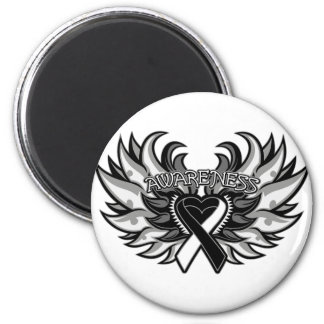 Carcinoid Cancer Awareness Heart Wings.png 2 Inch Round Magnet