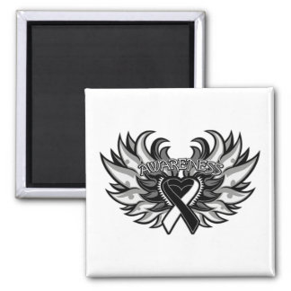 Carcinoid Cancer Awareness Heart Wings.png 2 Inch Square Magnet