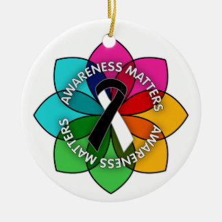 Carcinoid Cancer Awareness Matters Petals Double-Sided Ceramic Round Christmas Ornament