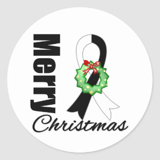 Carcinoid Cancer Awareness Merry Christmas Ribbon Classic Round Sticker