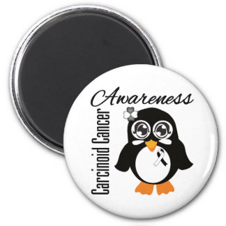 Carcinoid Cancer Awareness Penguin 2 Inch Round Magnet