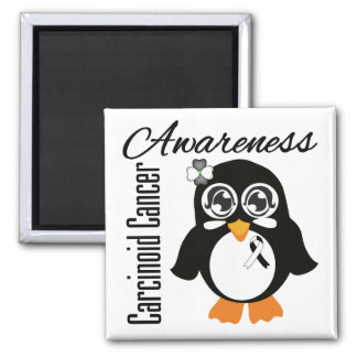 Carcinoid Cancer Awareness Penguin 2 Inch Square Magnet