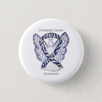 Carcinoid Cancer Awareness Ribbon Angel Custom Pin
