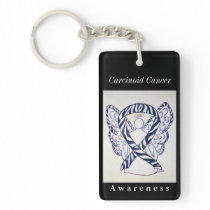 Carcinoid Cancer Awareness Ribbon Angel Keychain