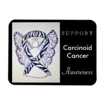 Carcinoid Cancer Awareness Ribbon Angel Magnet