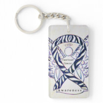 Carcinoid Cancer Awareness Ribbon Keychain