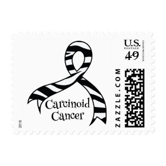 Carcinoid Cancer Awareness Zebra Ribbon Stamps