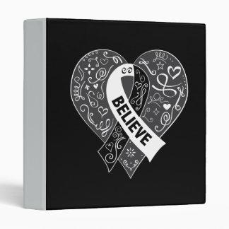 Carcinoid Cancer Believe Ribbon Heart Vinyl Binder