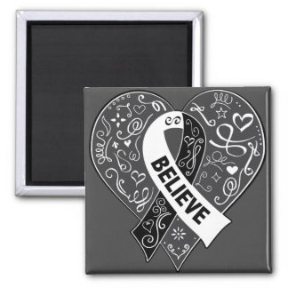 Carcinoid Cancer Believe Ribbon Heart 2 Inch Square Magnet
