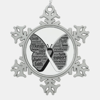 Carcinoid Cancer Butterfly Collage of Words Snowflake Pewter Christmas Ornament