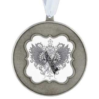 Carcinoid Cancer Cool Awareness Wings Scalloped Pewter Christmas Ornament