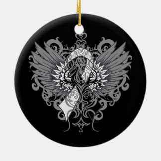 Carcinoid Cancer Cool Wings Double-Sided Ceramic Round Christmas Ornament