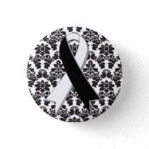 Carcinoid Cancer Damask Black and White Ribbon Pinback Button
