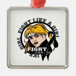 Carcinoid Cancer Fight Like A Girl Attitude Square Metal Christmas Ornament