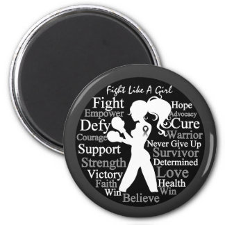 Carcinoid Cancer Fight Like A Girl Collage 2 Inch Round Magnet