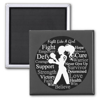 Carcinoid Cancer Fight Like A Girl Collage 2 Inch Square Magnet