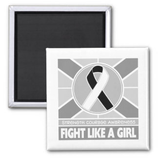 Carcinoid Cancer Fight Like A Girl Flag 2 Inch Square Magnet