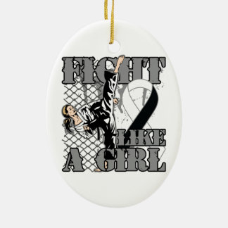 Carcinoid Cancer Fight Like A Girl Kick Double-Sided Oval Ceramic Christmas Ornament