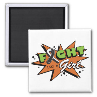 Carcinoid Cancer Fight Like A Girl POW! 2 Inch Square Magnet