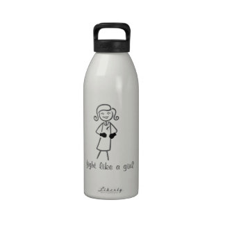 Carcinoid Cancer Fight Like A Girl (Retro) Water Bottle