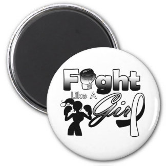 Carcinoid Cancer Fight Like A Girl Silhouette 2 Inch Round Magnet