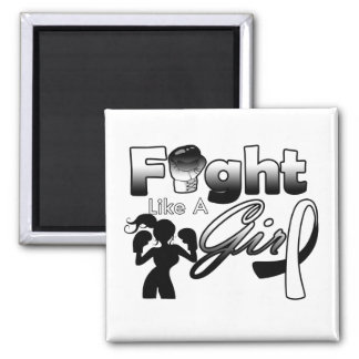 Carcinoid Cancer Fight Like A Girl Silhouette 2 Inch Square Magnet