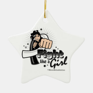 Carcinoid Cancer Fist - Fight Like a Girl Double-Sided Star Ceramic Christmas Ornament