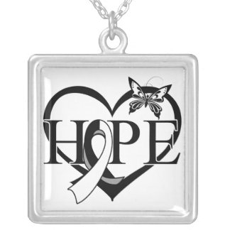 Carcinoid Cancer Hope Butterfly Heart Décor Square Pendant Necklace