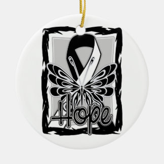 Carcinoid Cancer Hope Butterfly Portrait Double-Sided Ceramic Round Christmas Ornament
