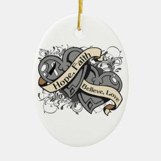 Carcinoid Cancer Hope Faith Dual Hearts Christmas Ornament