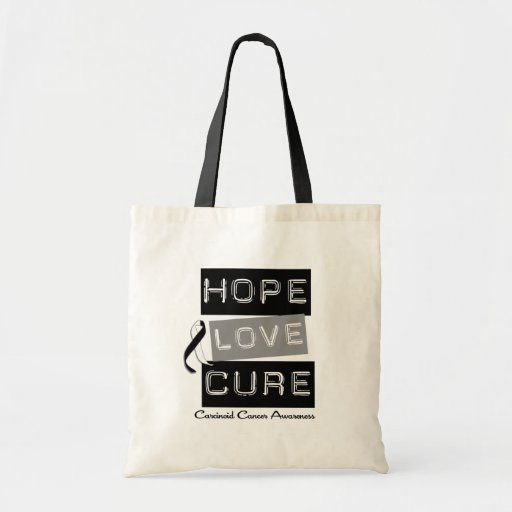 Carcinoid Cancer HOPE LOVE CURE Gifts Tote Bags