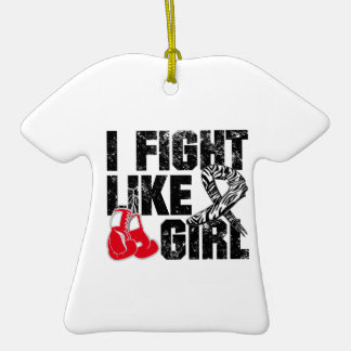 Carcinoid Cancer I Fight Like A Girl (Grunge) Double-Sided T-Shirt Ceramic Christmas Ornament