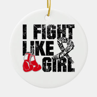 Carcinoid Cancer I Fight Like A Girl (Grunge) Double-Sided Ceramic Round Christmas Ornament