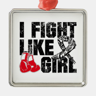 Carcinoid Cancer I Fight Like A Girl (Grunge) Square Metal Christmas Ornament
