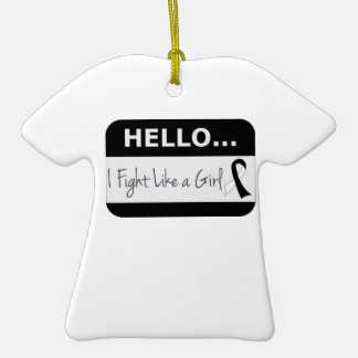 Carcinoid Cancer I Fight Like a Girl Double-Sided T-Shirt Ceramic Christmas Ornament
