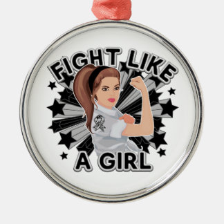 Carcinoid Cancer Modern Rosie Fight Round Metal Christmas Ornament