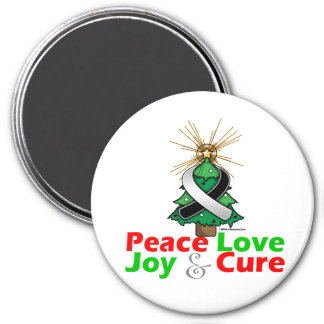 Carcinoid Cancer Peace Love Joy Cure 3 Inch Round Magnet