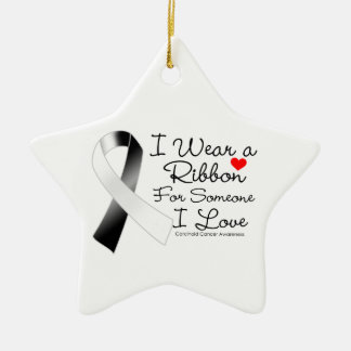 Carcinoid Cancer Ribbon Someone I Love Double-Sided Star Ceramic Christmas Ornament