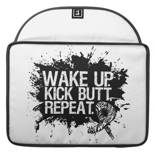 Carcinoid Cancer Wake Up Kick Butt Repeat Sleeves For MacBooks
