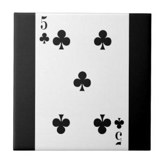 card815 CARDS FIVE CLUBS GAMBLING POKER GAMES FUN Ceramic Tile